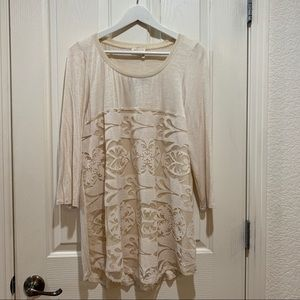 Anthropologie Lace Cream Top LS Tee New NWT Large